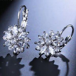 Jewelry - NEW! Cubic Zirconia Flower Hoop Earrings